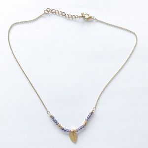 Jewelry - Dainty Gold and Lavender Seed Bead Leaf Necklace
